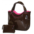 40 Love Courture Espresso Patent Charlotte Tote - Designer Tennis Bags - Luxury Fabrics and Ultimate Functionality