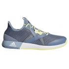Adidas Men's Adizero Defiant Bounce Tennis Shoes (Raw Grey/White/Semi Frozen Yellow) - Tennis Shoes