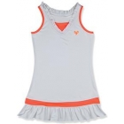 Little Miss Tennis Ruffled Sleeveless Dress (White/ Coral) - Girls's Tennis Apparel