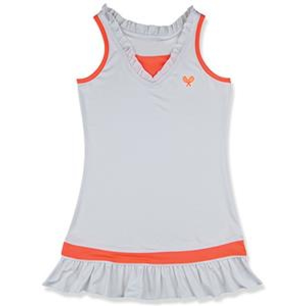 Little Miss Tennis Ruffled Sleeveless Dress (White/ Coral)