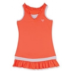 Little Miss Tennis Ruffled Sleeveless Dress (Coral/ White) - Girls's Tennis Apparel
