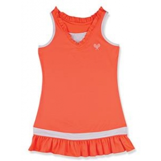 Little Miss Tennis Ruffled Sleeveless Dress (Coral/ White)