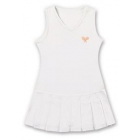 Little Miss Tennis Classic Pleated Sleeveless Dress (White/ Coral) - Girls's Tennis Apparel