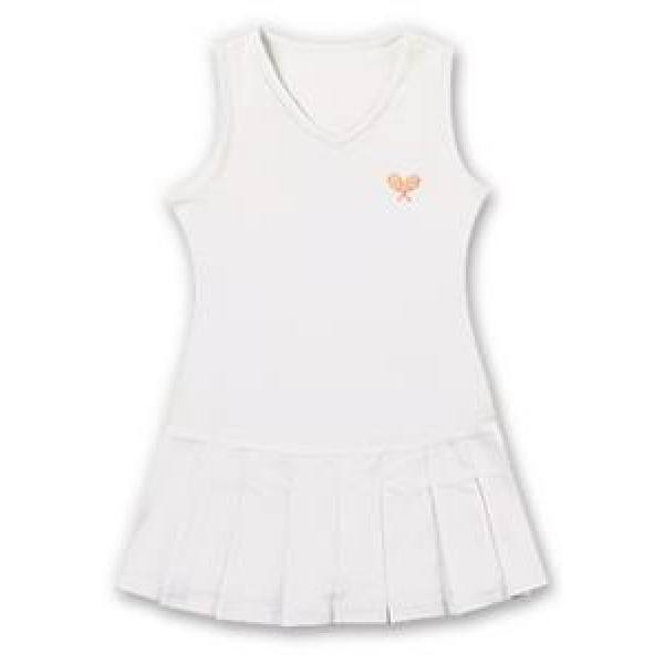 Little Miss Tennis Classic Pleated Sleeveless Dress (White/ Coral)