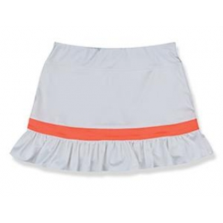 Little Miss Tennis Ruffled Skort (White/ Coral)