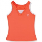 Little Miss Tennis Ruffled Tank (Coral/ White) - Girls's Tennis Apparel