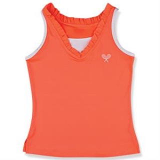 Little Miss Tennis Ruffled Tank (Coral/ White)