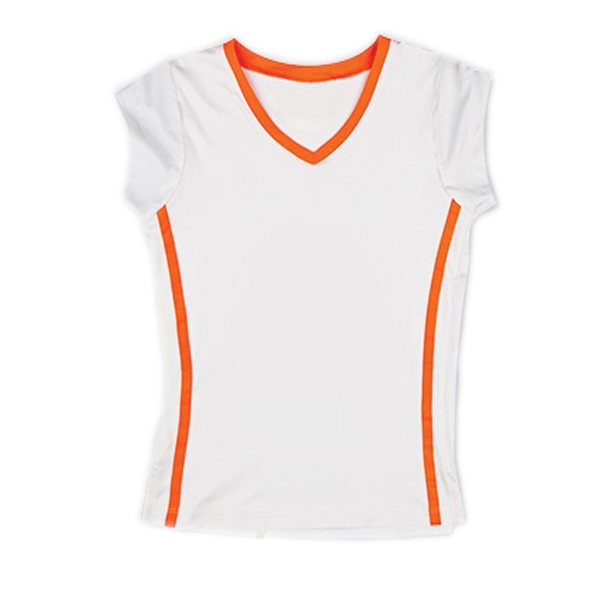 Little Miss Tennis Capsleeve Top (White/ Coral)