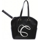 Cortglia Signature Logo Tennis Bag (Black) - Designer Tennis Bags - Luxury Fabrics and Ultimate Functionality