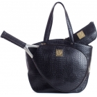Court Couture Cassanova Croco-embossed  Tote (Black) - Court Couture Tennis Bags