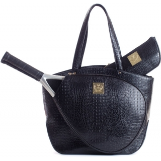 Court Couture Cassanova Croco-embossed Tennis Tote (Black)