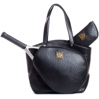 Court Couture Cassanova Ostrich-embossed Tennis Tote (Black)