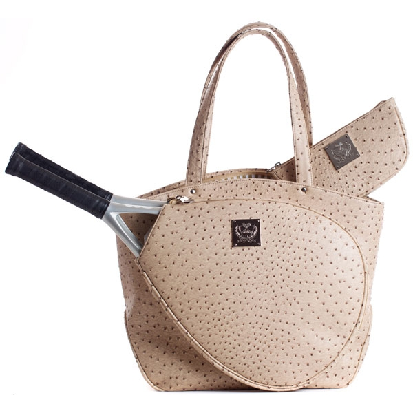 Court Couture Cassanova Ostrich-embossed Tennis Tote (Tan)