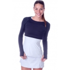 Bloq-UV Long Sleeve Tennis Crop Top (Black) - Women's Warm-Ups