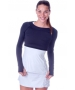Bloq-UV Long Sleeve Tennis Crop Top (Black) - Women's Tops
