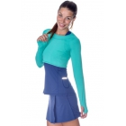 Bloq-UV Long Sleeve Tennis Crop Top (Green) - Women's Warm-Ups