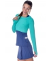 Bloq-UV Long Sleeve Tennis Crop Top (Green) - Women's Tops