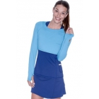 Bloq-UV Long Sleeve Tennis Crop Top (Ocean Blue) - Women's Warm-Ups