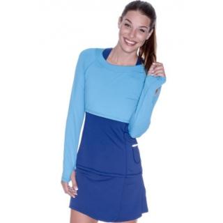 Bloq-UV Long Sleeve Tennis Crop Top (Ocean Blue)