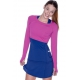Bloq-UV Long Sleeve Tennis Crop Top (Orchid) - Women's Tops