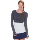 Bloq-UV Long Sleeve Tennis Crop Top (Grey) - Women's Warm-Ups