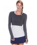 Bloq-UV Long Sleeve Tennis Crop Top (Grey) - Women's Tops