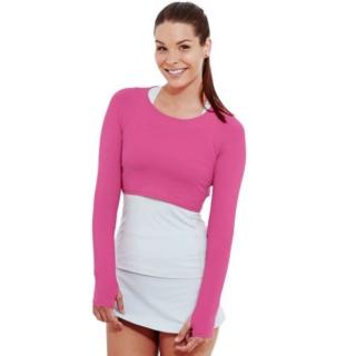 Bloq-UV Long Sleeve Tennis Crop Top (Passion Pink)