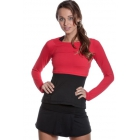 Bloq-UV Long Sleeve Tennis Crop Top (Red) - Bloq-UV Women's Long-Sleeve Shirts
