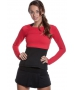 Bloq-UV Long Sleeve Tennis Crop Top (Red) - Women's Tops