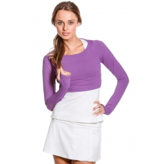 Bloq-UV Long Sleeve Tennis Crop Top (Purple)