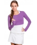 Bloq-UV Long Sleeve Tennis Crop Top (Purple) - Women's Tops