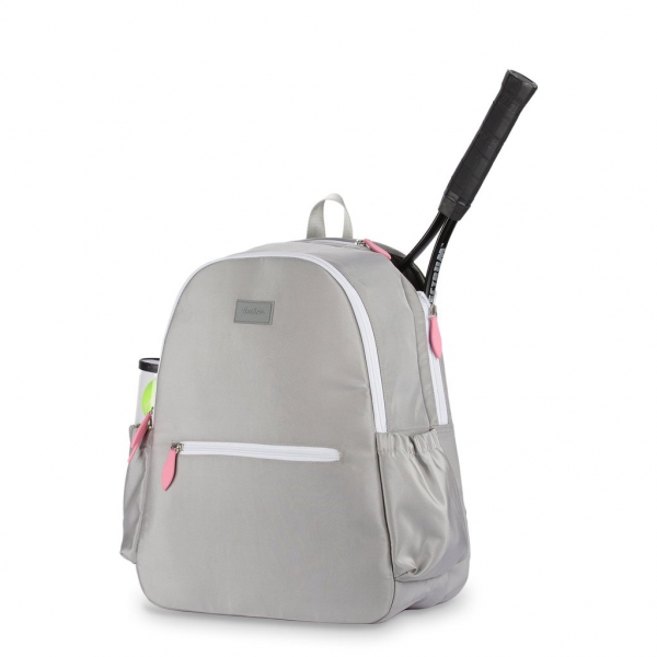Ame & Lulu Courtside Tennis Backpack, Grey/Pink
