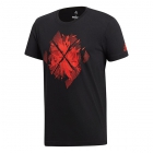 Adidas Men's Barricade Tennis Tee (Black/Scarlet) - Men's Tops