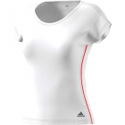 Adidas Women's Barricade Tennis Top (White/Scarlet) - Women's Cap-Sleeve Shirts