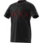 Adidas Boys' Barricade Tennis Tee (Black/Scarlet) - Adidas Junior's Tennis Apparel