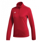 Adidas Women's Core Tennis Training 1/2 Zip Long Sleeve Top (Power Red/White) - Adidas Women's Tennis Dresses, Jackets & Pants