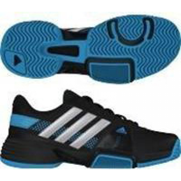 Adidas Barricade Team 3 Juniors Tennis Shoes (Black/ Silver/ Blue)