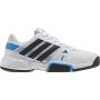 Adidas Barricade Team 3 Juniors Tennis Shoes (White/ Black/ Blue)