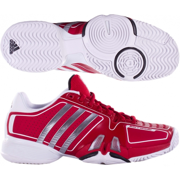 Adidas Barricade 7 Mens Tennis Shoes (Red/ White/ Grey)