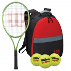 Wilson Blade Feel Tennis Racquet Bundled with Red and Black Wilson Junior Clash Tennis Backpack and 1 Can of Tennis Balls -