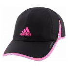 Adidas Women's Adizero II Cap (Black/Twister Shock Pink Print/Shock Pink) - Tennis Accessories