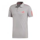 Adidas Men's Club 3 Stripe Tennis Polo (Light Granite/Shock Red) - Men's Polo Shirts