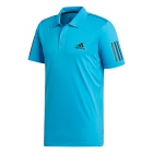 Adidas Men's Club 3 Stripe Tennis Polo (Shock Cyan/Black) - Men's Polo Shirts