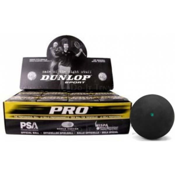 Dunlop Pro Double Yellow Dot 12-Pack Squash Balls