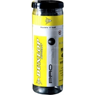 Dunlop Pro Double Yellow Dot 3-ball Tube Squash Balls