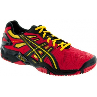 Asics Men's Gel Resolution 5 Shoes (Fiery Red/Black/Yellow)