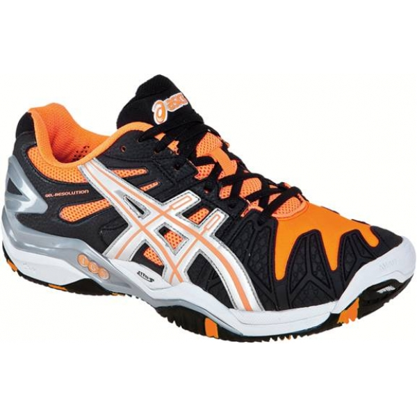 Asics Men's Gel Resolution 5 Shoes (Black/ Orange/ White)
