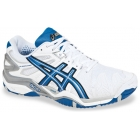 Asics Men's Gel Resolution 5 Shoes (White/Blue/Silver) - Men's Tennis Shoes