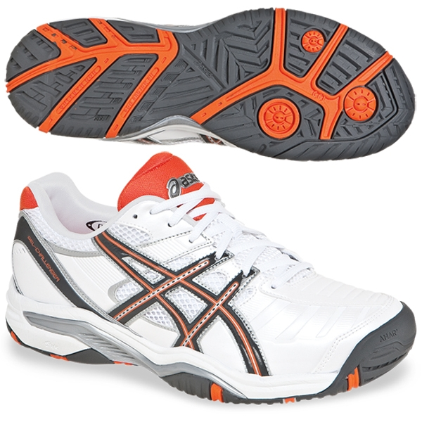 Asics Men's Challenger 9 Tennis Shoes (White/Grey/Orange)