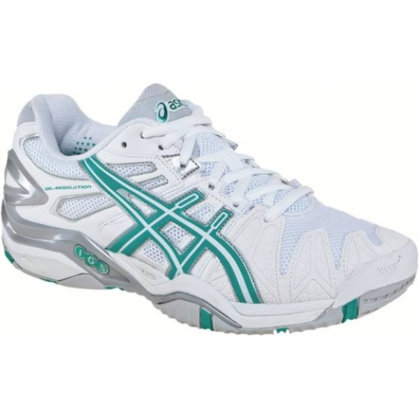 Asics Women's Gel Resolution 5 Shoes (White/ Teal/ Silver)